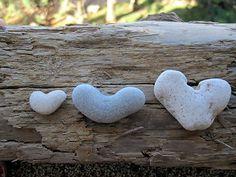 3 Natural Heart Stones Pebble Beach Sea LOVE Rocks Christmas Friends decoration