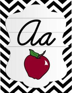 Cursive Alphabet Posters - Black & White Chevron with Color Pictures.