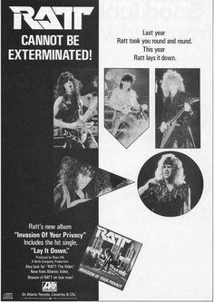 """Magazine ad for Ratt's """"Invasion of Your Privacy,"""" 1985"""