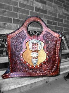 Custom Tooled Leather Purse with Swarowski by DMCustomLeatherworks, $900.00