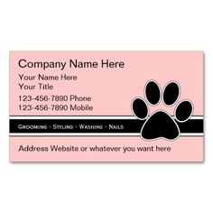 Pet Service Business Cards. I love this design! It is available for customization or ready to buy as is. All you need is to add your business info to this template then place the order. It will ship within 24 hours. Just click the image to make your own!