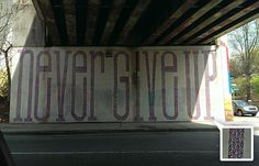 Atlanta Street Art. Never Give Up all made of X's and O's. xoxo