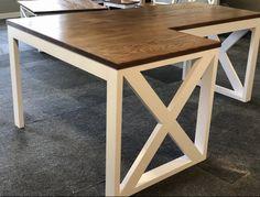 L Shaped Farmhouse Desk Rustic Furniture Desk Office Decor Furniture, Rustic Furniture, Diy Desk Plans, Wood Furniture, Desk Furniture, Farmhouse Desk, Diy Office Desk, Rustic Decor, Office Desk Decor