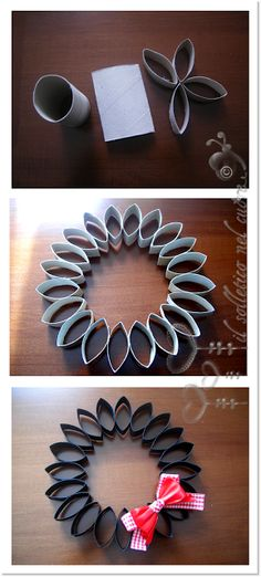 recycle, make wreath from toiletpaper roll