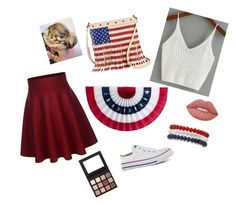 """""""Happy Independence Day!"""" by jess-baes-life ❤ liked on Polyvore featuring Converse, Twig & Arrow, Kim Rogers, Lime Crime and Sigma"""