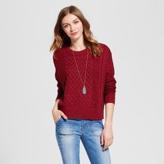 Women's Pullover Sweater - Mossimo Supply Co. Burgundy (Red) Xxl