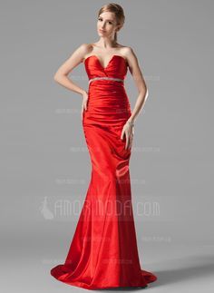 Special Occasion Dresses - $139.99 - Trumpet/Mermaid V-neck Sweep Train Charmeuse Evening Dress With Ruffle Beading (017002534) http://amormoda.com/Trumpet-Mermaid-V-neck-Sweep-Train-Charmeuse-Evening-Dress-With-Ruffle-Beading-017002534-g2534