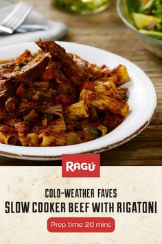 Winter was made for slow cookers, and this hearty Beef with Rigatoni recipe was made for winter. Try this dinner idea tonight using RAGÚ Homestyle Thick & Hearty Traditional Sauce.