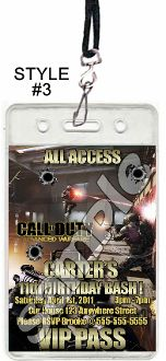CALL OF DUTY ADVANCED WARFARE VIP PASSES WITH LANYARDS, CALL OF DUTY ADVANCED WARFARE BIRTHDAY INVITATIONS, CALL OF DUTY ADVANCED WARFARE PARTY FAVORS, CALL OF DUTY ADVANCED WARFARE PARTY