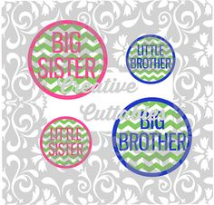 Sibling Shirts Big Brother Big Sister Chevron for  Silhouette or other craft cutters (.svg/.dxf/.eps)