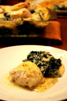 Baked Monk Fish on Spinach