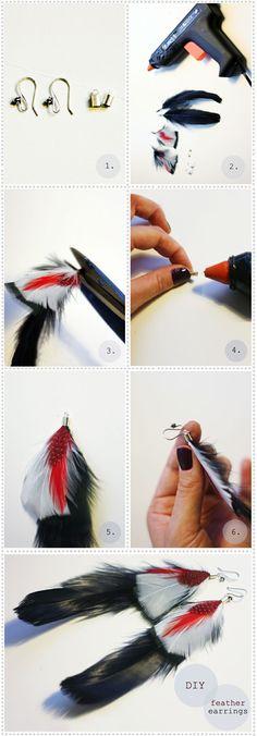 4 Great Ideas for DIY Earrings diy feather earrings Feather Jewelry, Feather Earrings, Diy Earrings, Beaded Jewelry, Handmade Jewelry, Feather Headdress, Wie Macht Man, Feather Crafts, Boho Diy