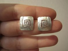 Organic Square Hammered Stud earrings in Sterling silver