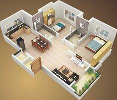 Plano de departamento grande de 2 dormitorios