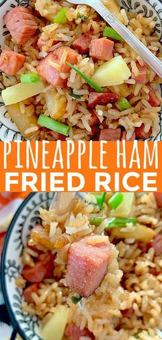 Ham Fried Rice Always have an answer for what's for dinner tonight with this recipe for Easy Fried Rice with Ham and Pineapple.Always have an answer for what's for dinner tonight with this recipe for Easy Fried Rice with Ham and Pineapple. Leftover Ham Recipes, Leftovers Recipes, Pork Recipes, Cooking Recipes, Recipes For Ham, Rice Recipes For Dinner, Pineapple Dinner Recipes, Recipes With Ham In Them, Recipes Using Rice