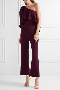 Elie Saab - One-shoulder Ruffled Stretch-crepe Jumpsuit - Grape - FR34