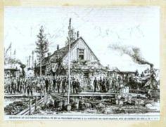 ST-MARTIN JCT, Québec - Québec Montréal Ottawa & Occidental RR station-gare 1878     -  Gothic Revival Style Architecture