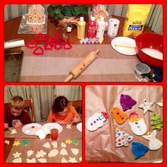 Supplies:  ◊ 2 cups of flour ◊ 1/2 cup of salt ◊ 1/2 cups of hot water ◊ holiday cookie cutters ◊ decorations - glitter, paint, beads, etc.  Directions:  1. Mix flour, salt & water to form dough. Roll dough out with rolling pin.   2. Use Christmas cookie cutters to cut a variety of snowmen, Christmas trees and stars. Use a straw to make a hole for hanging.  3. Place cut outs on a cookie sheet & bake at 200 for one hour! Let ornaments cool completely before decorating.