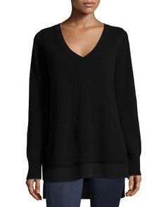 Vince Mixed Media Layered V Neck Sweater Color Black Size XS