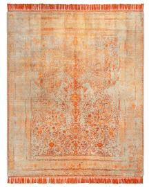 Rug Star. Rajasthan 09 No. 09 Copper Natural Grey. Silk Fringes. 35% wool 65% Chinese silk. 250 cm x 300 cm