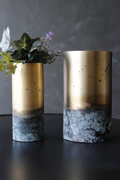 Set Of 2 Antiqued Gold Metal Tube Vases - Home Accessories