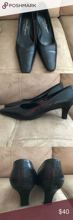 Salvatore Ferragamo Size 7.5 C Black Kitten Heels Salvatore Ferragamo Boutique Size 7 1/2 C Made in Italy Black Alligator Pattern DR56036 A54 Excellent Condition with the exception of a scratch across the right toe. See photo. I took a close up; from a distance it is not noticeable.  Shop my closet for Women's and Children's fashion and accessories.  Shop @mensstylehouse for top brand men's fashion. Salvatore Ferragamo Shoes Heels