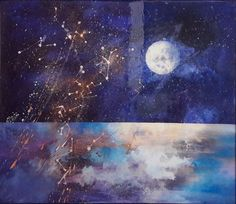 Buy Moon Song, Mixed Media painting by Marjan Fahimi on Artfinder. Discover thousands of other original paintings, prints, sculptures and photography from independent artists. #moon #sky #moonlight #stars #fallingstars #fullmoon #magic