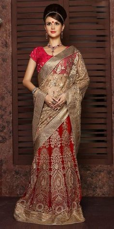 Dazzle Red Net Saree With Blouse.