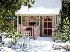 Barbara Stanley's snowy retreat - grown-up playhouse (potting shed)