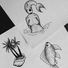 Mais flash de mar e sal pra esse domingo. #flashday #fllashbazar #art #arte #tattooart #tatuagem #desenho #illustration #ilustração #fish #peixe #mulher #pontilhismo #dotwork #shellfish #shell #concha #mar #women #arte #aracaju