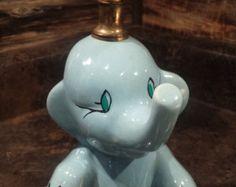 1960'S BLUE BABY ELEPHANT LAMP - VINTAGE