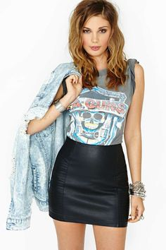 Nasty Gal Faux Leather Right Side Skirt