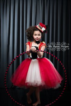 Circus Tutu Dress Ring Mistress Costume in Red, White, Black & Gold