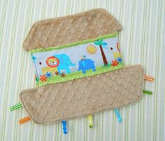 Noah's Ark Tag blankie - I would add a hanging ribbon/wide ricrac to the top.