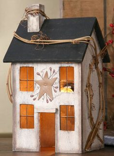 Primitive Lighted Saltbox House