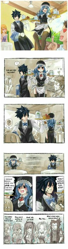 Gruvia💦What Happen If A Customer Trys To Get Grays Attention or Staring at Juvia In The Wrong Way. Fairy Tail Meme, Fairy Tail Gray, Fairy Tail Nalu, Fairy Tale Anime, Fairy Tail Comics, Fairy Tail Ships, Fairy Tales, Fairy Tail Family, Fairy Tail Couples