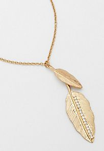 goldtone double metal feather necklace