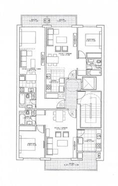 Apartment Floor Plans, House Floor Plans, Architecture Plan, Residential Architecture, Apartment Furniture Layout, Asian House, Architectural House Plans, Unit Plan, Historic Homes