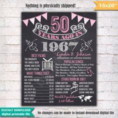 50 cumpleaños pizarra cartel muestra hace 50 años por DigitalBoard