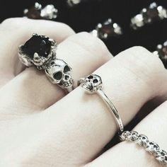 Silver skull rings