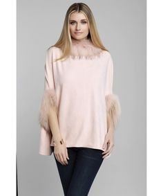 DOLCE CABO Natural Fur Trim Poncho. #dolcecabo #cloth #