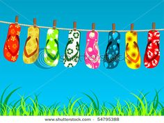 963ea377432d28 Flip flop clothes line....on ironing board for beachy cabin. Summer