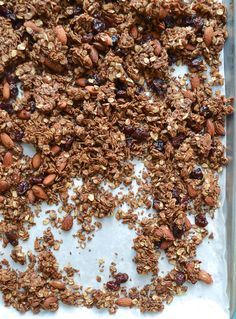Chocolate Almond Olive Oil Granola with Cherries and Coconut - Healthy, crispy and absolutely addictive!