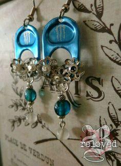 Blue Monster Tab Earrings.
