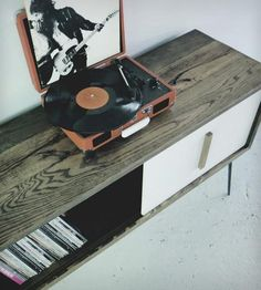 Large Reclaimed Wood Record Cabinet by Table Architect