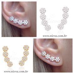 ✔️Brinco Ear Cuff Florzinha, no ródio e no ouro. Vocês encontram no ➡️www.nieva.com.br ou pelo ☎️11 3052-1036 / 95030 5020. Enviamos para todo Brasil!! #earcuff #brinco #ouro #rodio #tendencia #lookoftheday