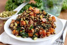 Caramelized Sweet Potato and Kale Fried Wild Rice by Iowa Girl Eats