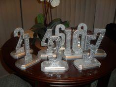 Great idea for teams too! Bling Crystal Rhinestone Wedding Reception Table by IDoBlingInc