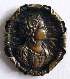 button with young lady's portraits;