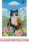 Fine art with summer cat. Cat in paintings are delighted with glorious summer. Cat Cards, House Flags, Garden Flags, Needlepoint, Minnie Mouse, Disney Characters, Fictional Characters, Butterfly, Fine Art